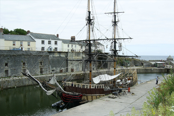 The masted tallship Pheonix, moored at the Charlestown Shipwreck, Rescue and Heritage Centre.