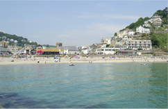 A view of Looe beach from offshore.