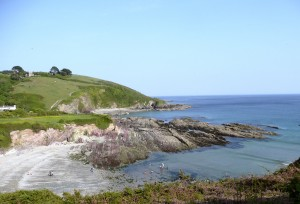 A view of Talland Bay from the coast path.