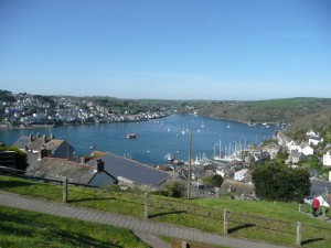 A view of Fowey Estuary from a elevated pathway showing moored boats and houses.